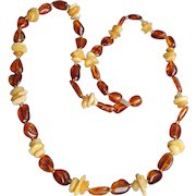 Baltic Egg Yolk & Honey Amber Nugget Vintage Necklace