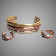 1970's Vintage Modern Sterling Silver, Brass, Copper Cuff Bracelet & Pierced Hoop Earrings Set