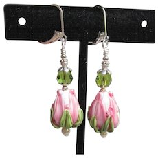 """My Secret Garden"" Artisan Lampwork Glass Bead & Swarovski Crystal Sterling Silver Dangle Earrings, ""Pink Rose Bud"" #157"