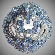 Exquisite Unsigned EISENBERG Big Sparkling Domed Blue Rhinestone Pin with Icing