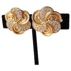 Vintage Designer Signed ST. JOHN Rhinestone Swirl Flower Gold Tone Clip Earrings