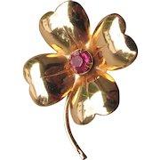Early CORO Retro 1940's Gold Tone Clover Flower Pink Rhinestone Pin