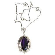 Antique Art Nouveau DRAGON Edwardian Purple Glass Gilt Brass Pendant Necklace