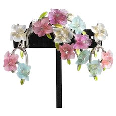 Signed ART Vintage Rhinestone, Molded Pastel Lucite Flower Bouquet Pin & Earrings Set