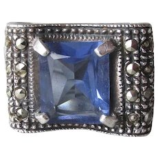 Chunky Boho Square Sterling Silver & Marcasite Sapphire Blue Glass BOW Ring, Size 7