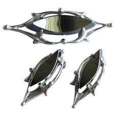 Signed Whiting & Davis Modern Hematite Pin & Earrings Set