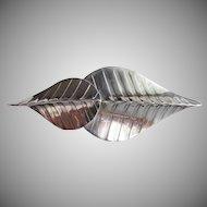 Signed PEARCE Handmade Sterling Silver 1970's Vintage Modernist LEAF Dress Clip Pin