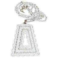 Signed Trifari White Enamel Big LONG Vintage 1970's Lacy Filigree Necklace