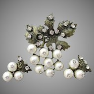 Signed Gerald Yosca 1980's Rhinestone Faux Pearl GRAPE Bunch Pin or Pendant & Earrings Set