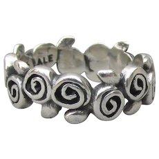 Vintage Signed PANDORA Sterling Silver Modernist Band Ring, Size 7.5