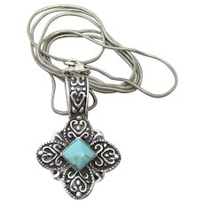 Vintage Signed JRL Mexican Sterling Silver Turquoise Pendant Long Necklace
