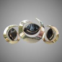 "Vintage Sarah Coventry ""Black Saturn"" Space Age Modern Pin & Earrings Set"