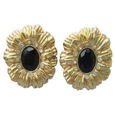 Signed Kenneth Jay Lane KJL for Avon New York Collection Rhinestone Onyx FLOWER Earrings
