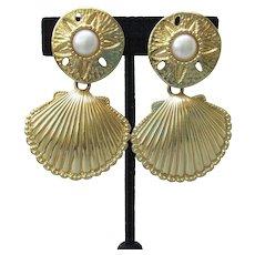 Kenneth Jay Lane for Avon 1992 ROYAL SEA Shell Big Vintage Earrings