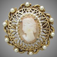 Signed FLORENZA Vintage 1950's Victorian Revival Cameo Pin or Pendant