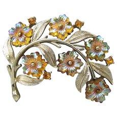 Vintage Signed CORO Flower Spray Pin with Molded Saphiret Glass Flower Rhinestones