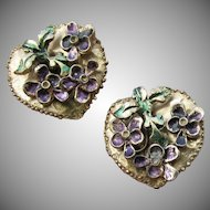 Valentine's Day Vintage Signed MOSELL Enamel on Gold Tone Heart Shaped VIOLETS Earrings
