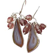 Hand-Crafted Agate Geode Druzy & Swarovski Crystal Sterling Silver Dangle Earrings