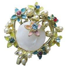 New Vintage 1950's Old Store Stock Brooch, Rhinestone, Enamel, Faux Pearl & Mother-of-Pearl Floral Pin