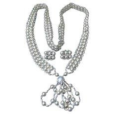 1960's Vintage Woven Silver Tone Bead Earrings & Long Tassel Necklace Set