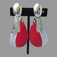 Large 1980's Vintage Red Enamel Silver Tone Dangle Comma Pierced Earrings