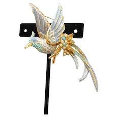 Spectacular! Nolan Miller Turquoise Rhinestone, Faux Pearl & Blue Enamel Tropical Bird of Paradise Pin