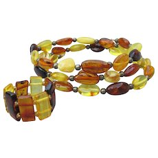 Vintage Baltic AMBER & Sterling Silver Memory Wire Bracelet & Stretch Ring Set