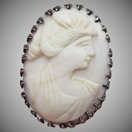 Antique Carved Angel Skin Coral in Sterling Silver Brooch