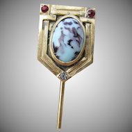 Magnificent Arts & Crafts Mission Venetian Art Glass Vintage Stick Pin