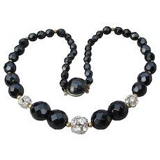 Black Czech Glass Bead & Rhinestone Disco Ball 1950's Vintage Choker Necklace