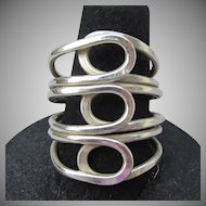 WIDE Hand-Crafted Sterling Silver Triple Open Work Vintage Band Ring, Size 7