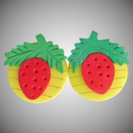 Cute Vibrant 1980's Vintage Lightweight Wood STRAWBERRY Pierced Earrings