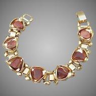 Vintage Gold Tone 1950's Book Chain Goldstone Bracelet