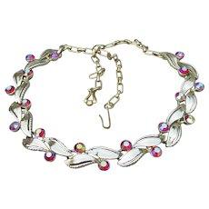 Signed STAR Vintage AB Red Rhinestone Gold Tone Modern LEAF Link Necklace, Adjustable