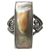 Antique Edwardian Sterling Silver LONG Blister Pearl Ring, Size 5