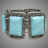 Huge Chunky 1960's Faux Turquoise Silver Tone Filigree Bracelet