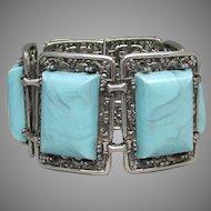 Massive 1960's Vintage Faux Turquoise Silver Tone Filigree Bracelet