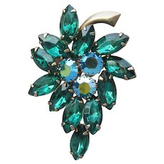 Unsigned WEISS Emerald Green Marquise AB Rhinestone LEAF Pin