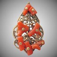 Antique Victorian Branch Coral on Gold Tone Filigree Pendant