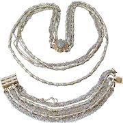 1970's Signed VENDOME Vintage Multi Gold, Silver Tone Chain Strung Metal Bead Long Necklace & Bracelet Set