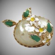 1950's Faux Baroque Pearl Egg with Enamel Flowers Vintage Pin