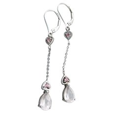 Valentine's Day Delicate Long Dangle Sterling Silver Rock Crystal & Ruby Lever Back Earrings
