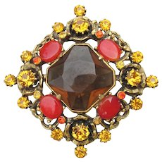 Signed WEISS Big Vintage Amber Rhinestone & Red Cabochon Pin
