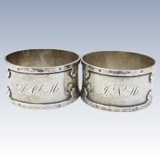 Antique Pair Arts & Crafts Wallace Sterling Silver Napkin Rings, Monogrammed