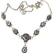 Pretty Vintage Sterling Silver Gemstone Y Necklace, Garnet, Peridot, Amethyst