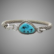 Turquoise Latch Top Vintage Sterling Silver Rope Cuff Bracelet