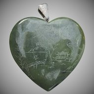 Valentine's Day Large Vintage Heart Shaped Engraved Spinach Green Serpentine Pendant