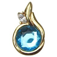 Beauty! Kenneth Jay Lane KJL Vintage 1990's Blue Rhinestone Pearl Enhancer Pendant