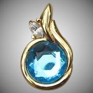 Beauty! Kenneth Jay Lane KJL Vintage 1990's Blue Rhinestone Pearl Enhancer Pendant