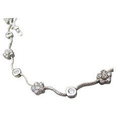 Delicate Sterling Silver Tiny Rhinestone Flower Link Vintage Choker Necklace